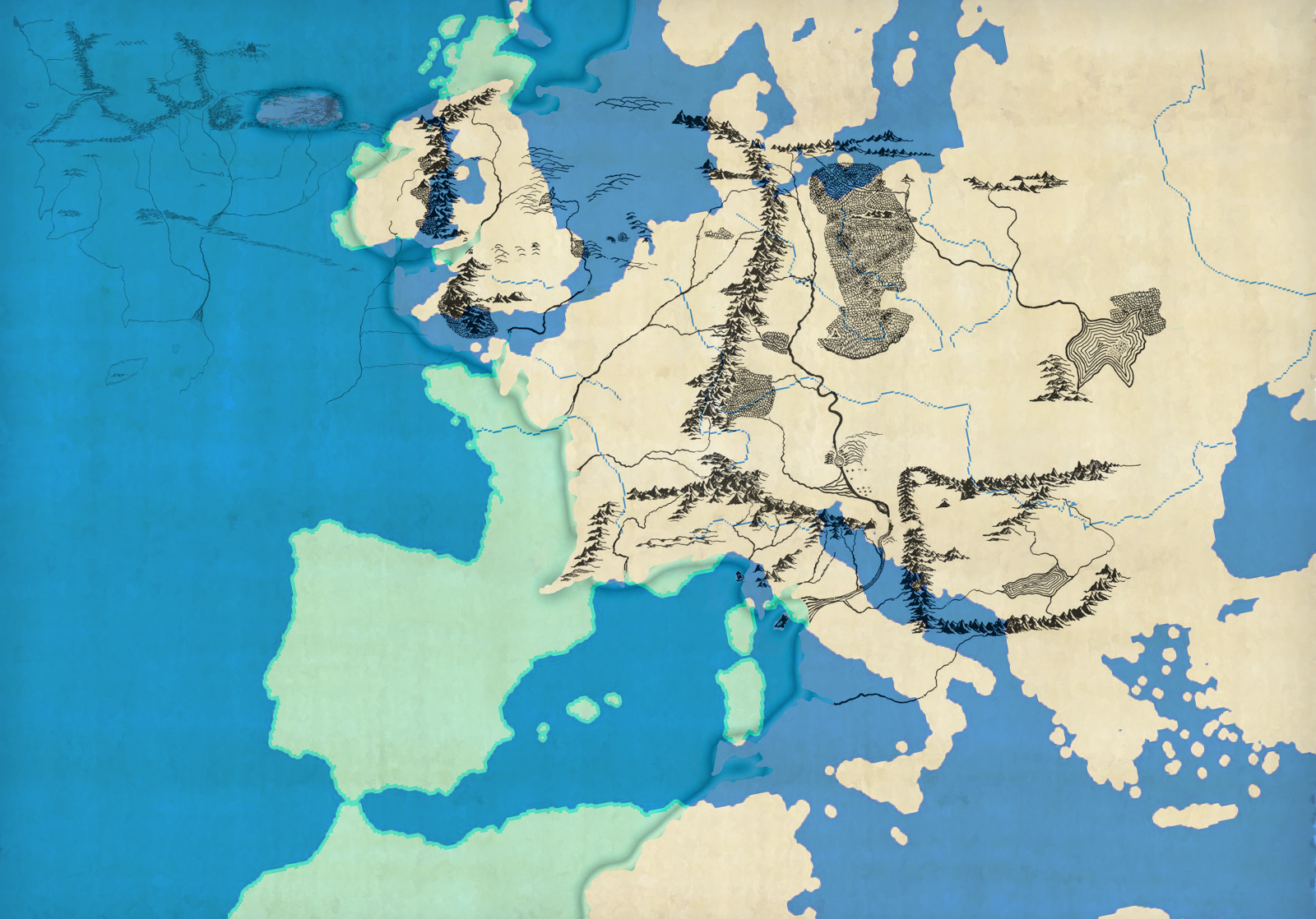 a map of europe projected on middle earth