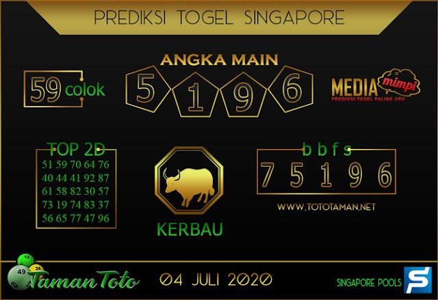 Prediksi Togel SINGAPORE TAMAN TOTO 04 JULI 2020