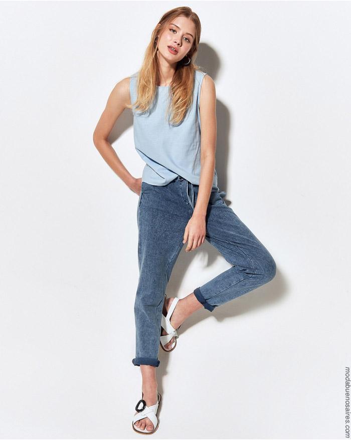 Tops y pantalones de jeans primavera verano 2020.