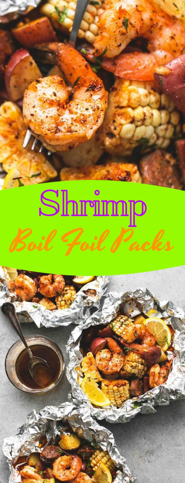 Shrimp Boil Foil Packs #shrimp #seafood #maincourse #healthyfood #healthyrecipes