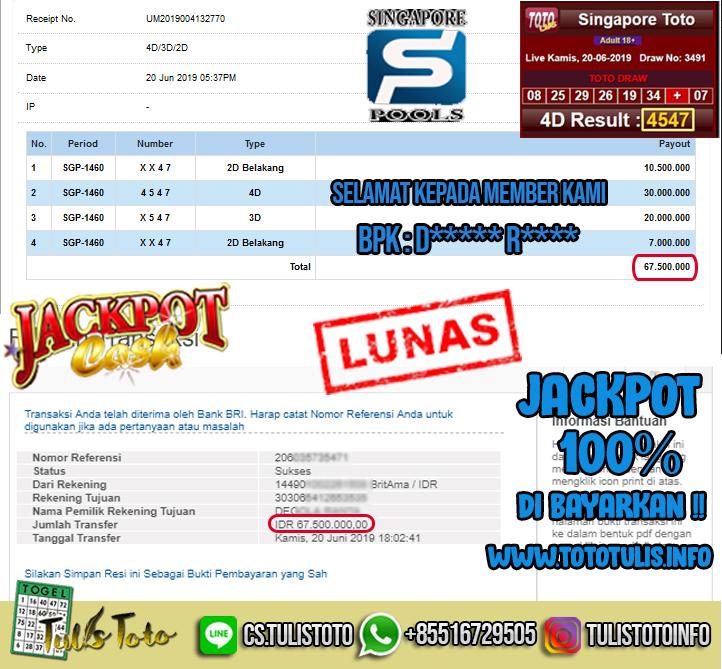 JACKPOT TOGEL 20 JUNI 2019 SINGAPORE 2D,3D & 4D POOLS TULISTOTO MEMBER JP TOGEL 100% LANGSUNG DI BAYARKAN !!