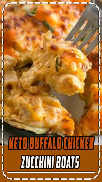4 NET CARBS!!! Try these Keto Buffalo Chicken Zucchini Boats packed with tangy buffalo sauce, chicken and cheese! These zucchini boats are cooked in either an air fryer or oven for a delicious low carb meal! #keto