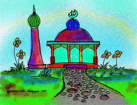 Mewarnai Gambar Masjid Contoh Gambar Mewarnai
