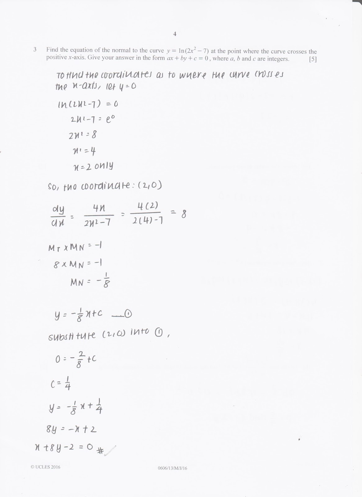 IGCSE Add Maths Working Answers [0606/13] Paper 1 2016