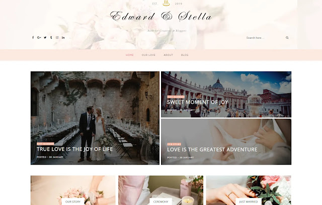 Edward & Stella Responsive Personal Blog Portfolio Blog Journal Blogger Template Theme
