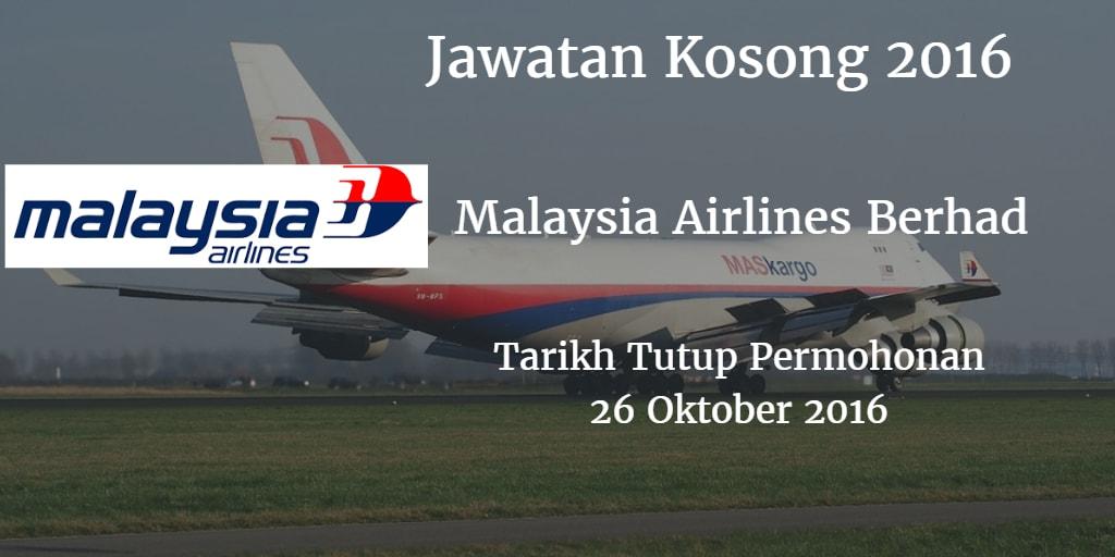 Jawatan Kosong Malaysia Airlines Berhad 26 Oktober 2016