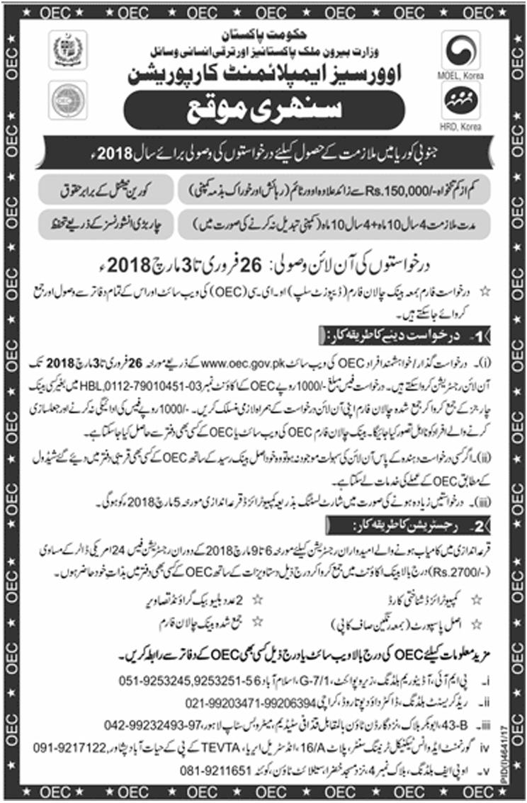 Jobs In Overseas Employment Corporation Govt Of Pakistan 2018 for 50 Posts