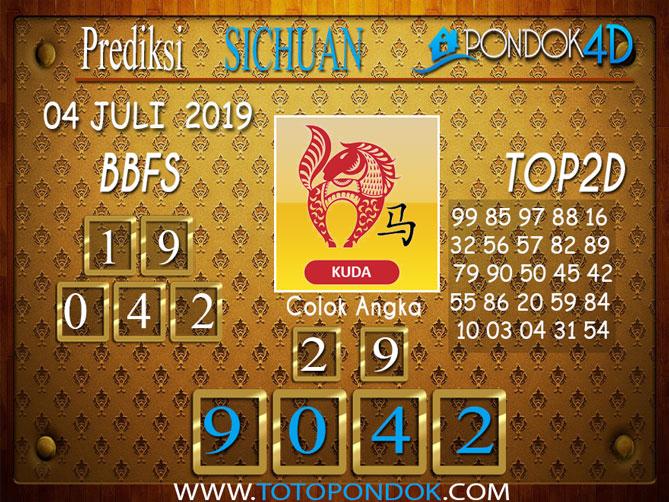 Prediksi Togel SICHUAN PONDOK4D 04 JULI  2019
