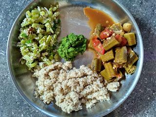 Barnyard millet (Kuthiraivaali), Ladies finger mandi, Snake gourd poriyal, Coriander Mint Chutney