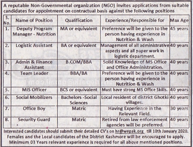 A Reputable Non-Government Organization (NGO) Jobs 2020 for MIS Officer, Logistics Assistant and Many more