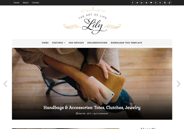 Lily Fashion Blogger Template is a creative blogger subject amongst an elegant Free Download  Lily Fashion