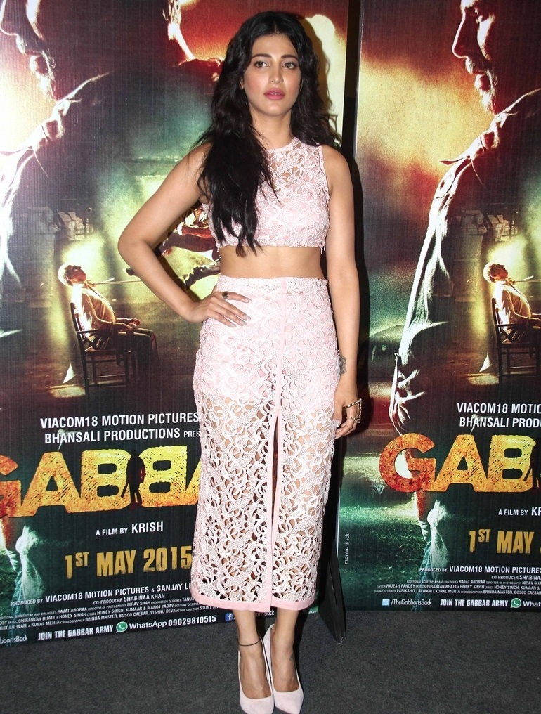 Movie Actress Shruti Haasan Long Hair In Pink Dress