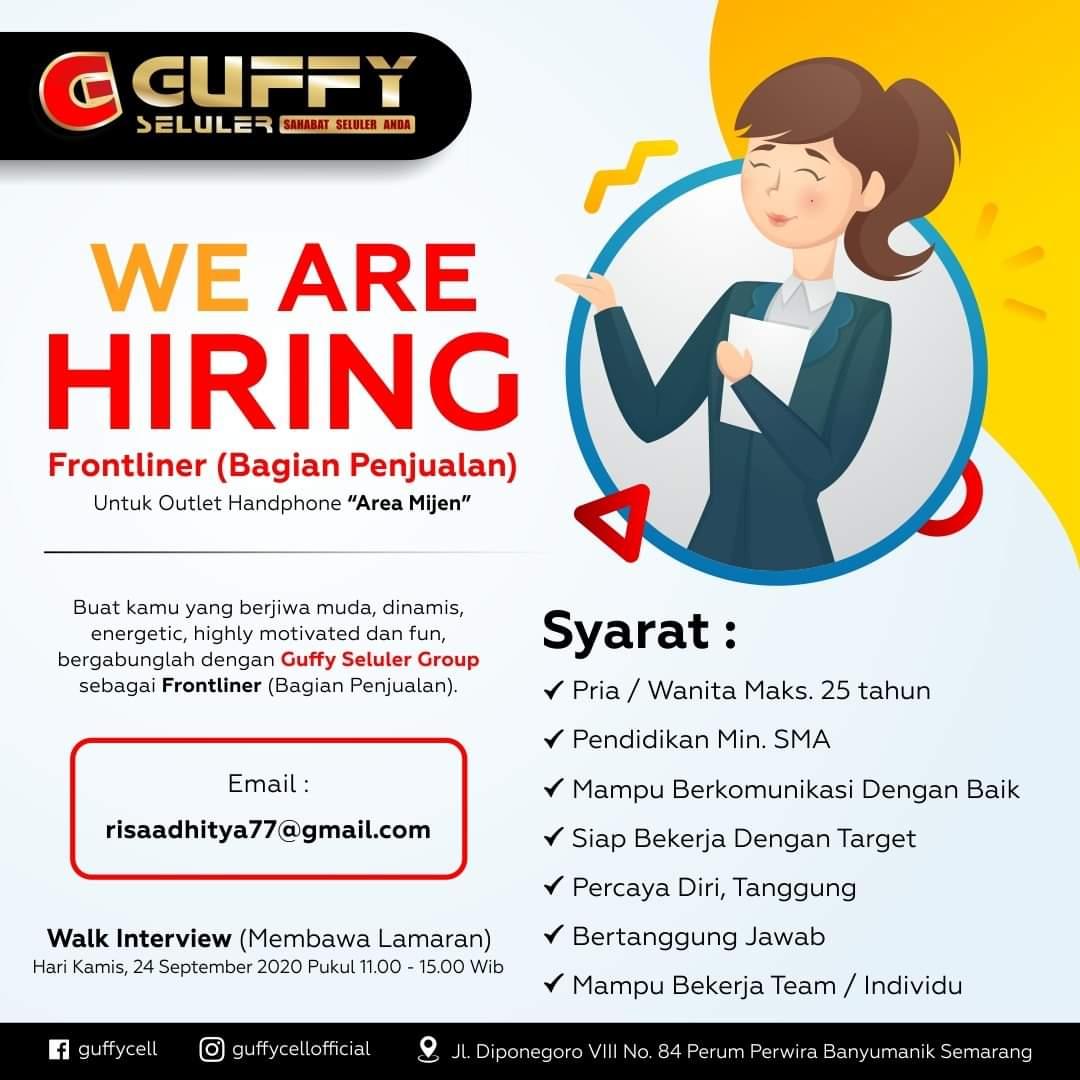 Lowongan Pekerjaan Semarang Dibutuhkan FRONTLINER Gufffy Seluler Mijen Semarang