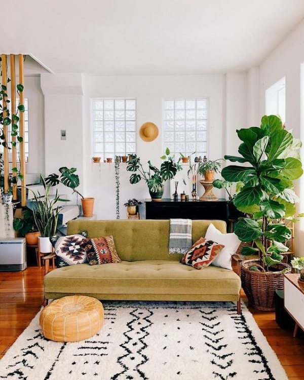 Beautiful Plant Filled Living room- design addict mom #nsale #plants