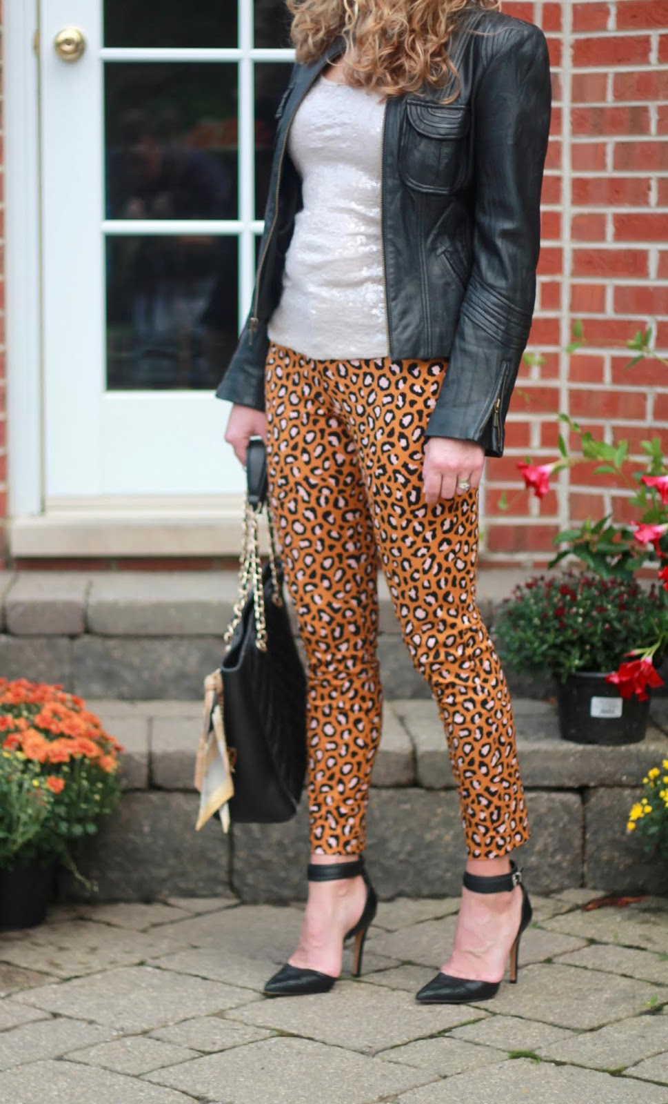 Old Navy leopard pants 3 ways, leopard pants, sequin tank, black moto jacket, black cami, pink cardigan, white cable knit tunic