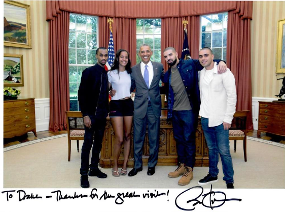 Drake receives autographed photo from former Pres. Barack Obama