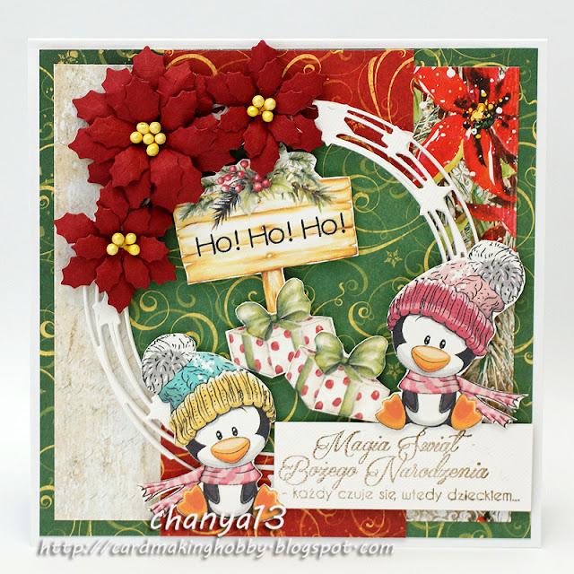 348.  Kartka świąteczna z bałwankami