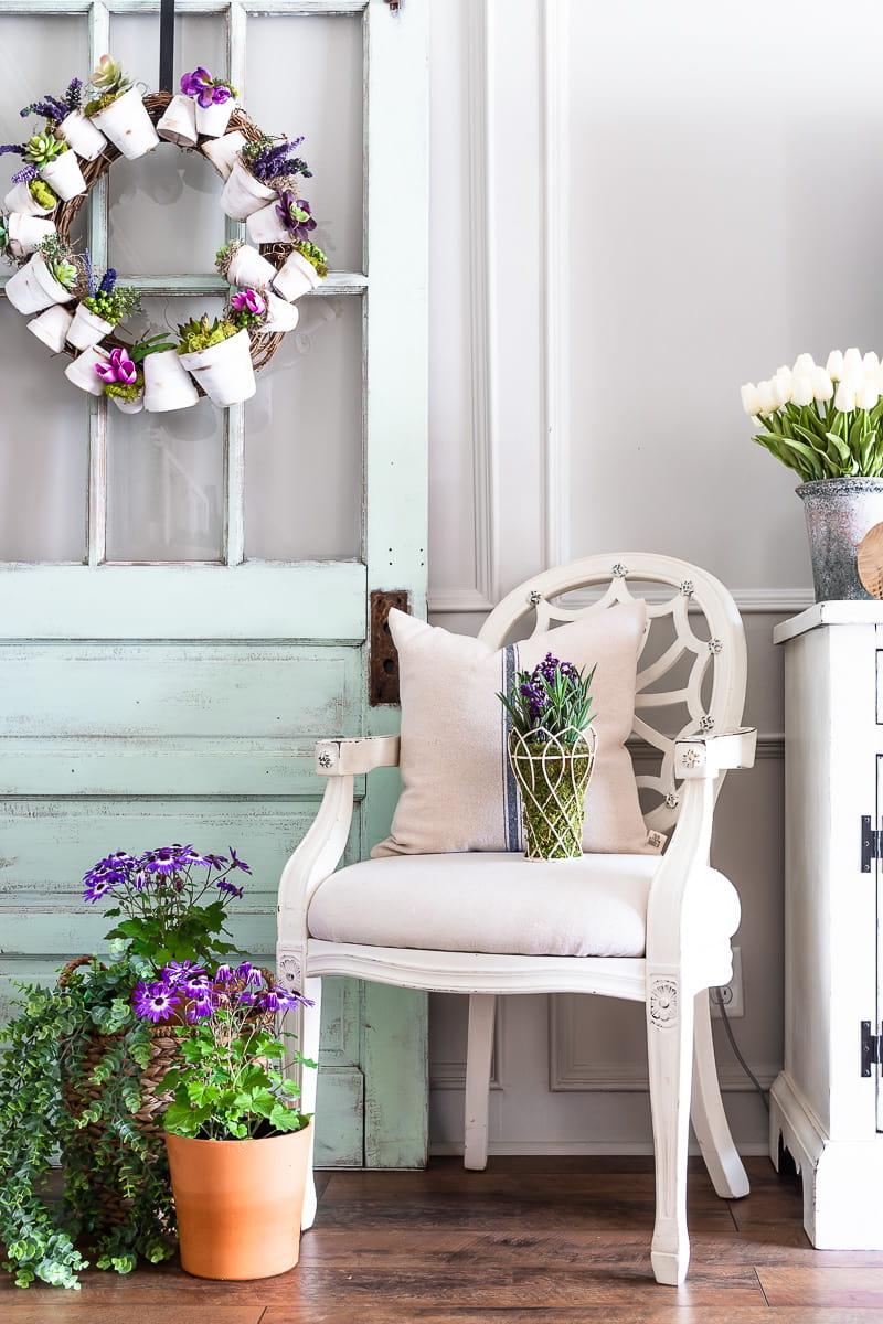 flower pot wreath on a vintage door