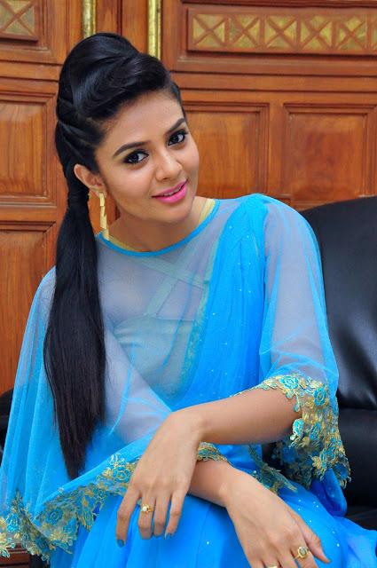 Sree Mukhi Beautiful Photoshoot In Blue Churidar Dress