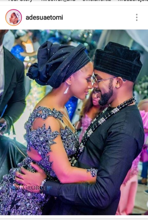 Banky w & Adesuaetomi celebrates their one year anniversary.. Indeed it's a love story. Check how she adores it.