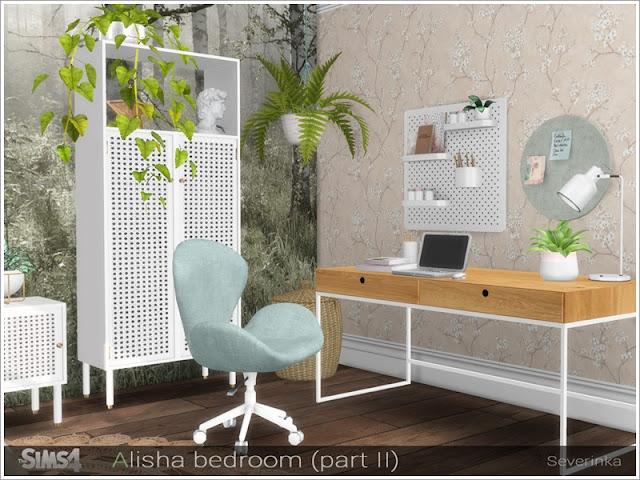 бохо для The Sims 4 , интерьер в стиле бохо для The Sims 4 , стиль бохо в интерьере, бохо для The Sims 4 , интерьер для The Sims 4, спальня в стиле бохо для The Sims 4, гостиная в стиле бохо для The Sims 4, столовая в стиле бохо для The Sims 4, кабинет в стиле бохо для The Sims 4, дом в стиле бохо для The Sims 4, веранда в стиле бохо для The Sims 4, дворик в стиле бохо для The Sims 4, комната в стиле бохо для The Sims 4, мебель в стиле бохо для The Sims 4, декор в стиле бохо для The Sims 4, Alisha bedroom (part II) Спальня Алиши (часть II) для: The Sims 4 Это набор с 8 творениями - Нажмите здесь, чтобы показать все Набор мебели и декора для оформления помещения в стиле ScandiBoho Creative Corner В набор входят 8 предметов: - письменный стол - стул для стола - настольная лампа - настенная доска - настенная круглая доска - карандаши - книги - ротанговая корзина Автор: Severinka_