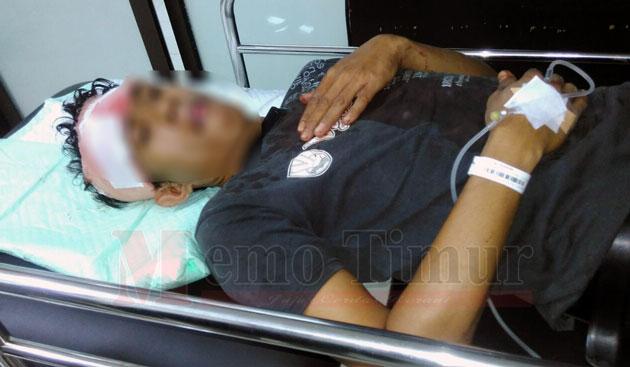 Foto korban saat dirawat di RSU dan pelaku saat di Polsek Randuagung