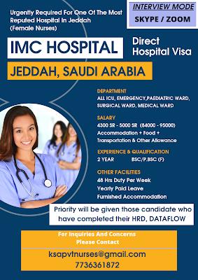 Urgently Required Staff Nurses for IMC Hospital Jeddah, Saudi Arabia