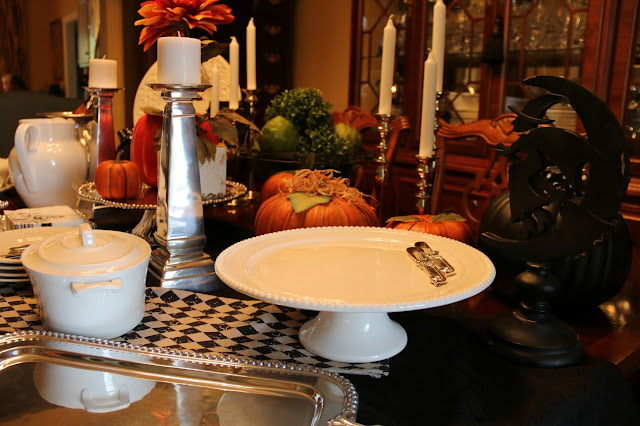 fall buffet table tablescape
