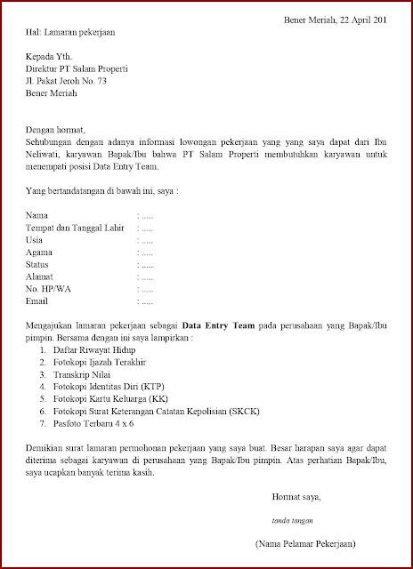 Contoh Application Letter Untuk Data Entry Team (Fresh Graduate) Berdasarkan Informasi Dari Seseorang
