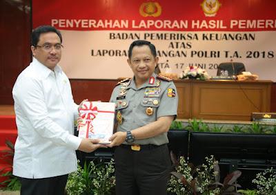 Polri Raih Opini Wajar Tanpa Pengecualian Dalam Laporan Keuangan BPK RI T.A 2018