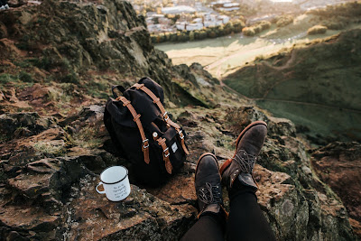 Backpack, brown boots, mountain,landscape,tavel