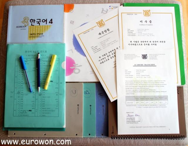 Material usado para estudiar el nivel 4 de coreano en la SNU