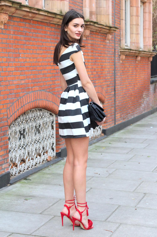 red heels and skater stripe dress