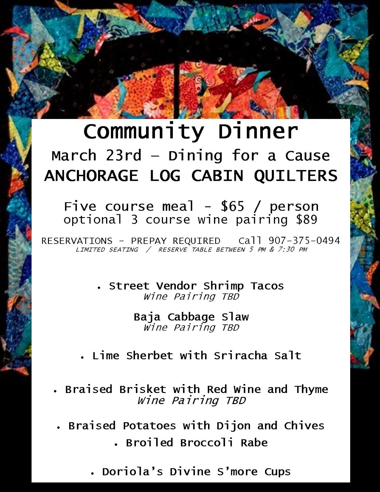 March Quilt Show and Community Dinner