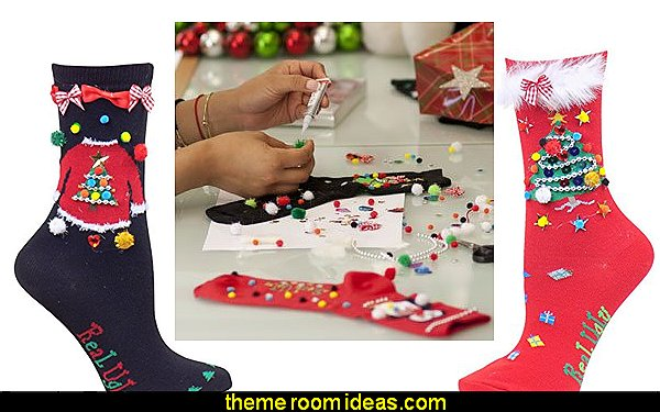 Womens/Girls Christmas Design & Decorate Real Ugly Socks Pajamas - fun pajamas family pajamas sleepwear - Girls Pajamas - Boys Pajamas - Mommy & Me pajamas - Christmas pajamas - fun boxers - Christmas gifts - holiday traditions - socks  - novelty socks - Christmas socks - Holiday clothing - slippers