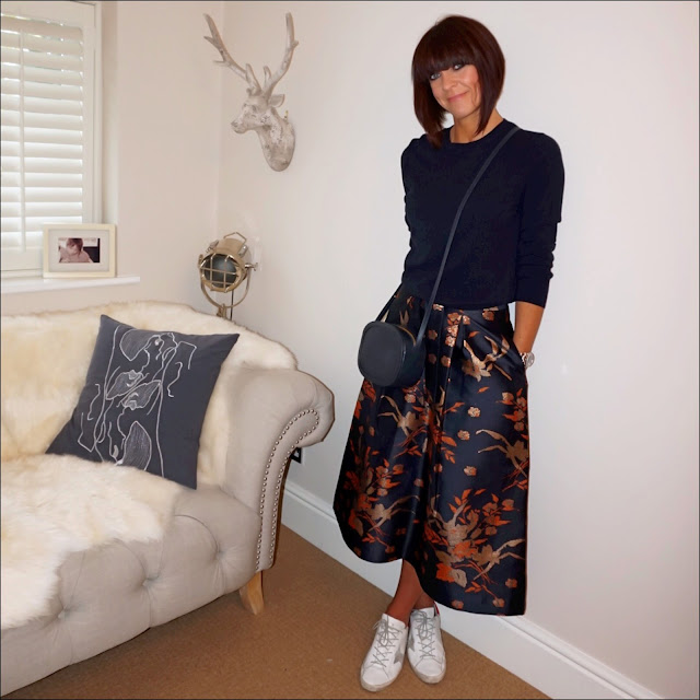my midlife fashion, marks and spencer crew neck cashmere jumper, iris and ink leather shoulder bag, golden goose superstar low top leather trainers, marks and spencer floral brocade a line midi skirt