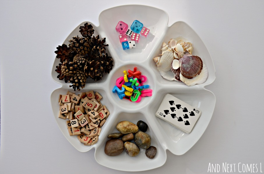 Reggio-inspired preschool math tray from And Next Comes L