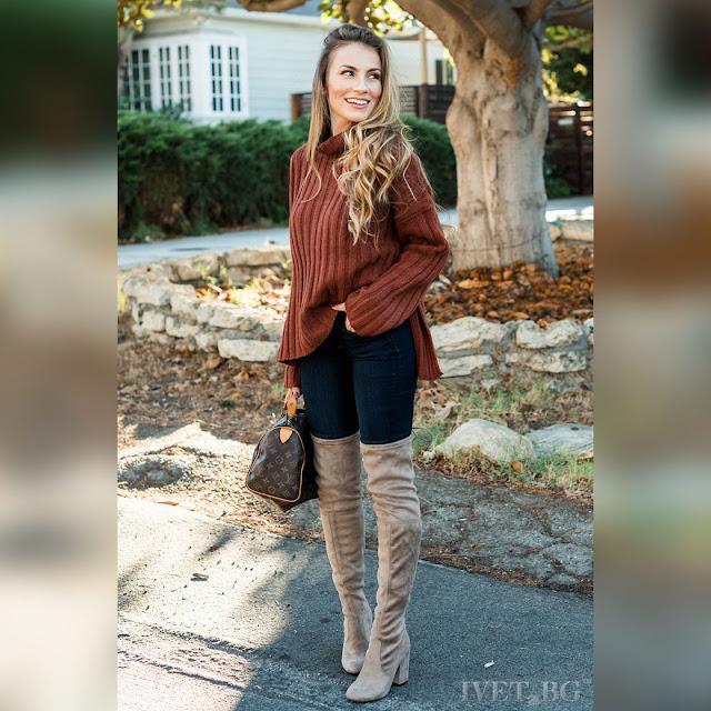 Μακρυμάνικο γυναικείο  καφέ πουλόβερ FRANY