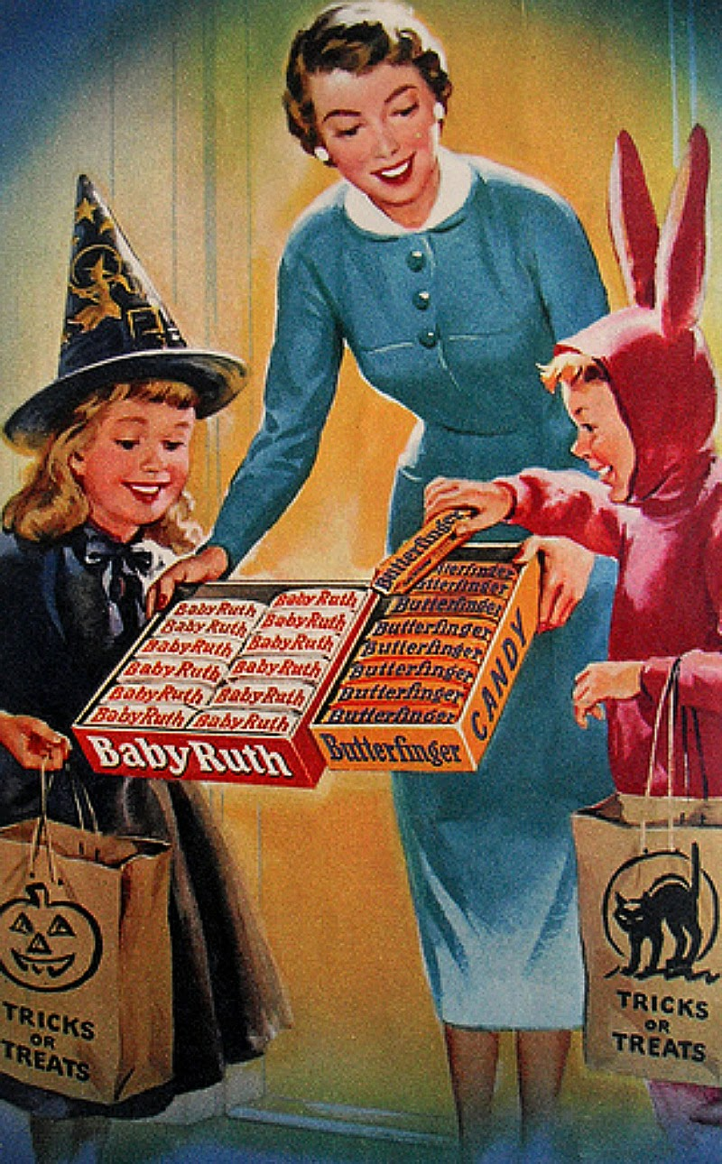 retro Halloween candy ad trick or treat
