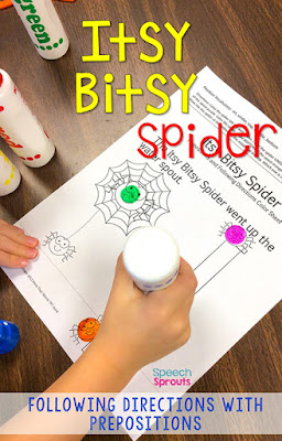 The Itsy Bitsy Spider is just one of the fabulous fall songs and fingerplays for preschool speech therapy in this post. Lisette shares links to the best Youtube videos to teach them, speech and language targets and more autumn speech and language activities for your fall themes. #speechsprouts #fingerplays #speechandlanguage #preschool #fallpreschoolactivities #spidertheme #theitsybitsyspider #nurseryrhymes