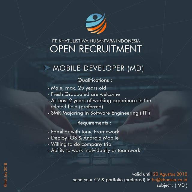 Lowongan Kerja Mobile Developer di Bandung