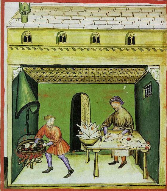 Mestre açougueiro e seu ajudante aprendiz, segundo o 'Tacuinum Sanitatis'. Era ponto de honra e condição para ser mestre nada desaproveitar por isso não há nada pelo chão.