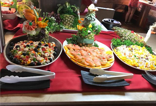 salad bar food pirates village, salmon, shrimp salad, rice salad
