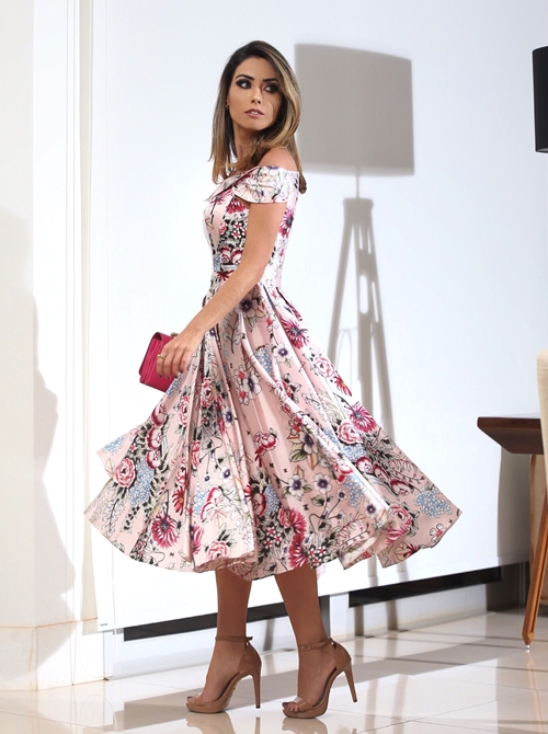 vestido de festa floral midi