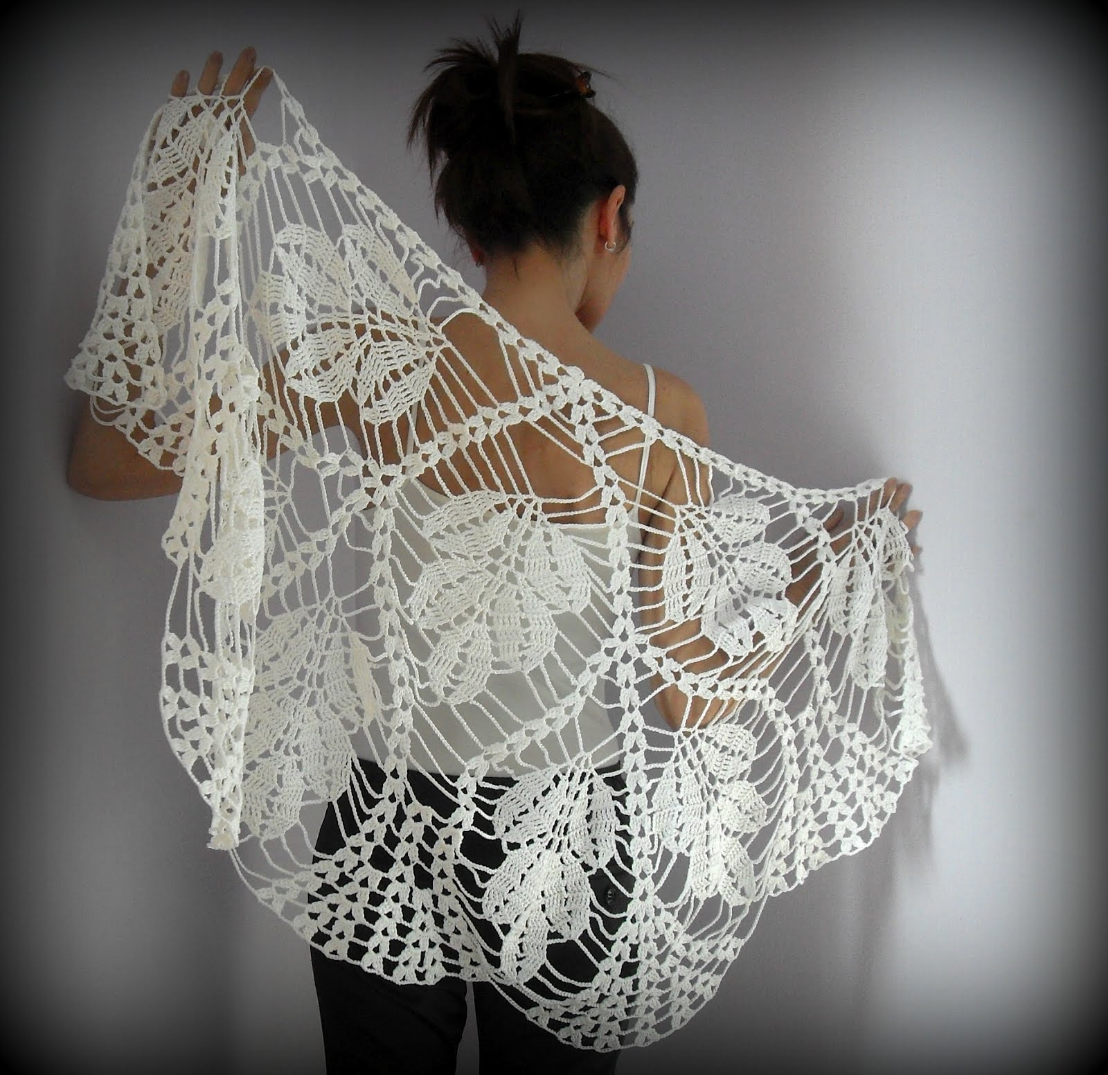SILVIA66: WHITE LEAVES- Hand Crochet Lace Wrap Shawl