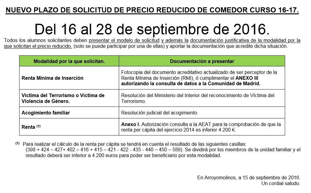 AMPA COLEGIO FRANCISCO DE ORELLANA: PLAZO SOLICITUD PRECIOS ...