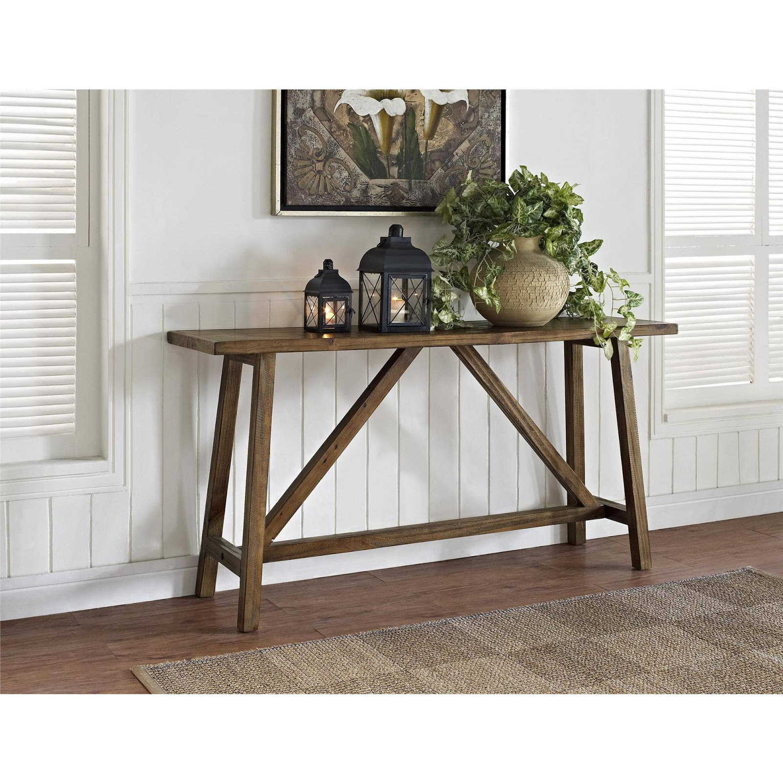Rustic wood contemporary console table