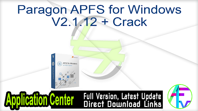 Paragon APFS for Windows V2.1.12 + Crack