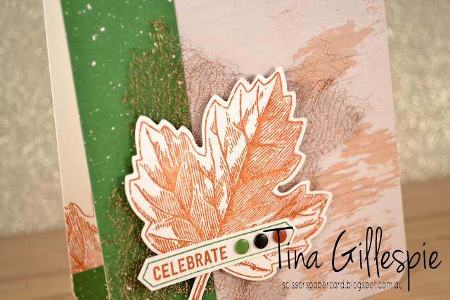 scissorspapercard, Stamping' Up!, Vintage Leaves, Thoughtful Banners, Leaflets Framelits, Be Merry DSP, Wood Textures DSP, Copper Trim