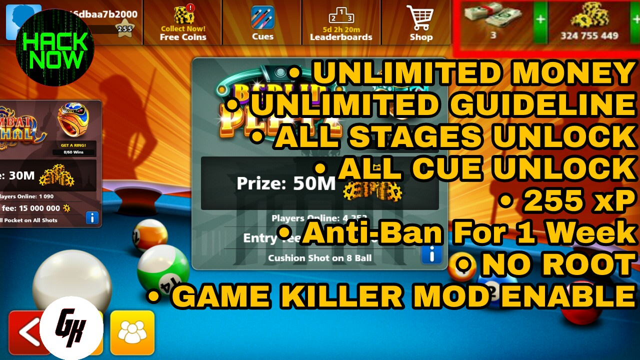 8 Ball Pool Unlimited Mod v 3 12 5 By Game Killer